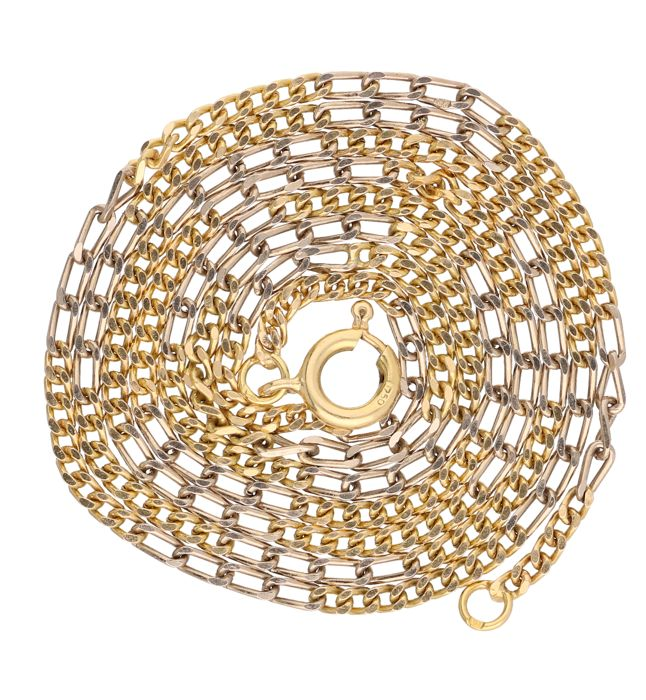 18 kt. Bicolour yellow/white gold figaro link necklace - Length: 61.5 cm