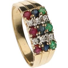 14 kt Yellow gold ring set with 3 rubies, 3 sapphires, 3 emeralds and 6 diamonds of approx. 0.06 ct in total – Ring size: 17.25 mm