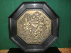 Carved Catholic Wooden Framed Brass Scene - Italy - Circa 1850