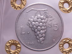 "Republic of Italy – 5 lire, 1946 ""Uva""
