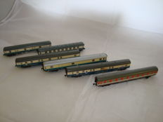 Fleischmann/Arnold/Minitrix N - 6x bogie express passenger/baggage coaches of the DB