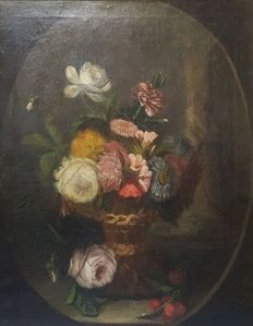 European School - 19th Century - A still life with flowers in a wicker basket (one of a pair)