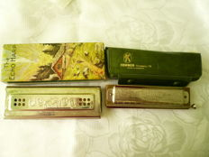 "Lot of two Hohner harmonicas -- ""The Ech Harp""55/80, C/G major and ""The Super Chromonica"" 270 D, made in Germany + original box"