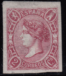 Spain 1865 – Isabel II 2 carmine quarters – Edifil No. 69