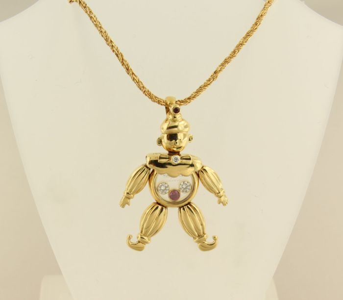 Chopard 18 kt yellow gold necklace with a clown pendant set with chopard 18 kt yellow gold necklace with a clown pendant set with rubies and brilliant aloadofball Gallery