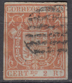 Spain 1854 – 2 r. red, blue paper variety Spanish shield Comex certificate – Edifil No. 25pb