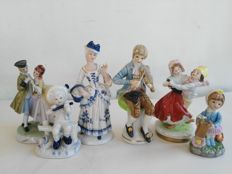 Six figurines in Capodimonte & Paben porcelain