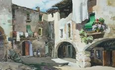 Ezequiel Torroella (1921 - 1998) - Ladies siesta time in courtyard