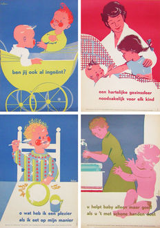 Heleen - 4 posters healthy family life - ca. 1970