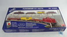 Fleischmann H0 - 8 6394 - Digital Starter Set with Profi-rails A + B with Diesel Locomotive V100 with 3 Freight Wagons with Close Couplings.