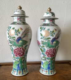 Edmé Samson & Cie- an antique pair of famille rose porcelain vases with covers