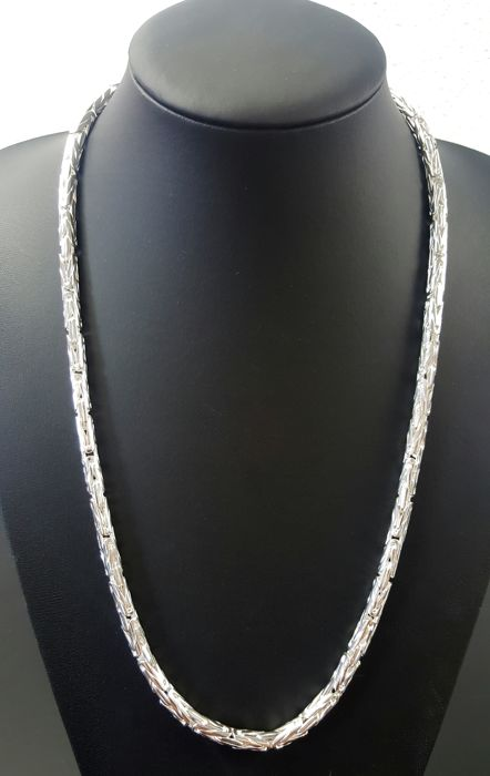 Round, silver Byzantine chain necklace, 925, length: 65 cm, width: 5 mm, weight: