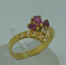 Ladies Ring with Rubies and Diamonds - size 53