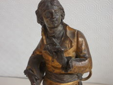 "Sculpture of ""Damerino in vesti settecentesche"" (Dandy in eighteenth-century clothes), gilded spelter - France - late 1800s"