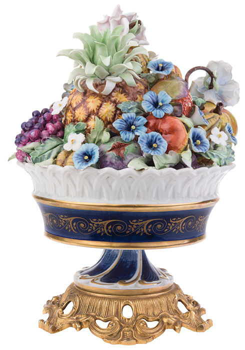 Basket of flowers and fruits, France, late 19th century