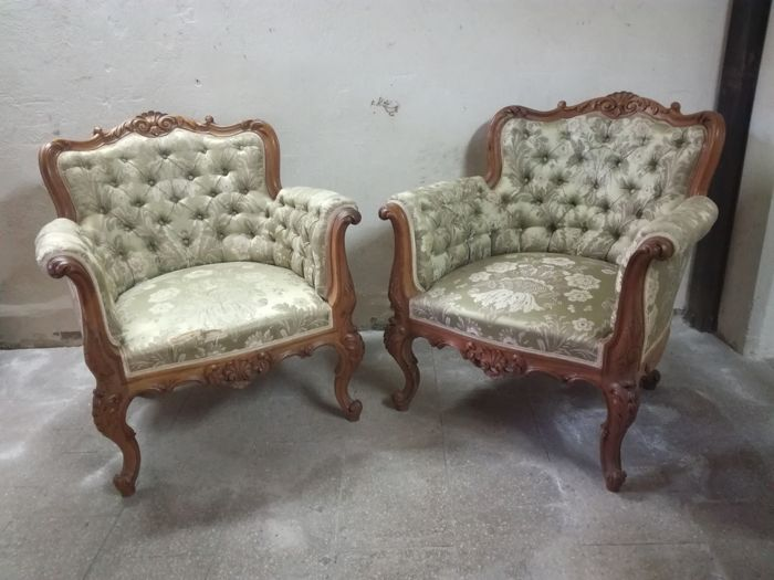 Two wooden armchairs - 1950s/60s