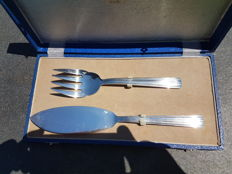 serving set for fish course, knife and large fork, christofle brand