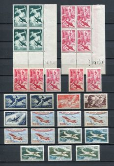 France 1946/1992 - Selection of air mail stamps including dated corners