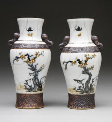 Set of Nanking Crackleware vases with Elephant handles - China - late 19th century