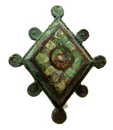Ancient Roman Enameled Lozenge-shaped Plate Brooch  - 48x39 mm.