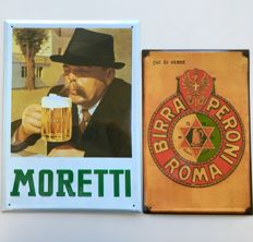 Lot of two Metal Plaques in relief of famous Italian beers