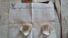 Belgium; Large collection of securities and heraldic documents of noble Belgian families - 17th/20th century