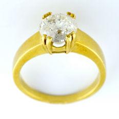 Gold Ring with Natural Brilliant cut Diamond of 1.89 ct (I/P3). IGE certificate: