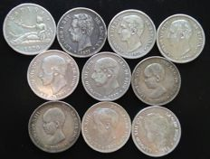 Spain, Lot of 10 Coins - 10 x 5 Pesetas of - 1870 A 1897- Provisional Government -1870, Amadeo I -1871,- Alfonso XII-XIII  SN.M, SD.M. DE.M. SG.V--VF