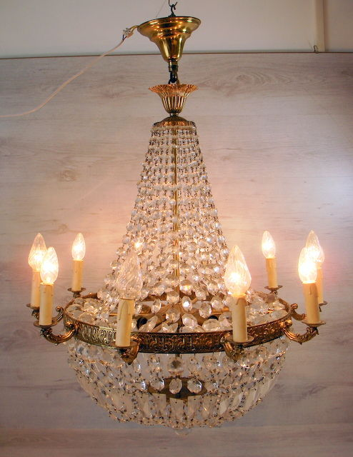 Large crystal 10 light chandelier in copper frame, France, 1st half of the 20th century,