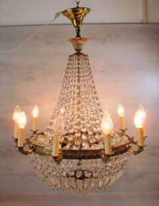 Large crystal 10 light chandelier in copper frames, France, 1st half of the 20th century,