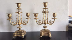 a pair of gilt bronze candlesticks, Napoleon III, with 3 lights, circa 1880