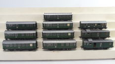 Fleischmann H0 - 5091/1408/1407- 10-piece passenger carriage set, 1st and 2nd class and luggage/postal carriages of the DB