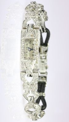Platinum Art Deco diamond cocktail ladies wrist watch, ca. 1920 set with ca. 2.70 ct. diamonds in total