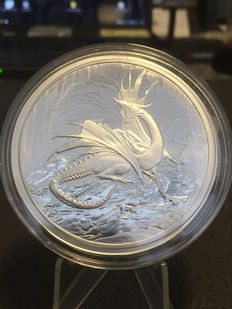 US - Nordic Creatures - Dragon - Niddhoggr 2016 - 5 oz / 999 silver - polished plate - with certificate - first edition