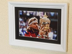 Bjorn Borg - Tennis legend - hand-autographed white glossy framed Wimbledon photo + COA.