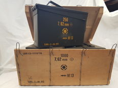 Kit of 4 military ammunition boxes with original wooden box