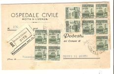 Italian Social Republic, 1944 – envelope with blocks of four 'Destroyed Monuments' stamps