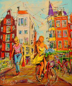 Mathias - Street of Amsterdam, girls on the bridge