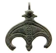 Viking Decorated  Lunar Pendant with Snake Headed Terminals - 43 mm