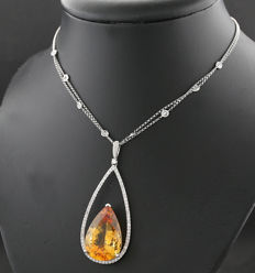 A luxurious citrine brilliant collier total 17.85 ct 750 white gold