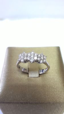 Trilogy ring - White gold (18 kt) - Diamonds  (0.44 ct) - Size 14/54 ***no reserve price***