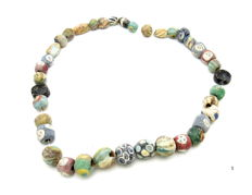 Rare Ancient Roman Mosaic glass beaded necklace - 58.8gr