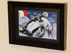 Giacomo Agostini, 15-time world champion motor racing - original framed signed photo + COA.
