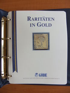"""Raritäten in Gold"" – Collection of 70 stamp replicas with gold foil in ring binder"
