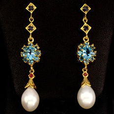 Silver earrings with natural Topaz, Ruby, Sapphire and Baroque Pearl
