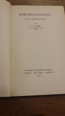 C.S. Lewis -  Rehabilitations and Other Essays - 1939