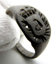 Early Medieval billon Viking ring with Runic Symbol on bezel - 19 mm