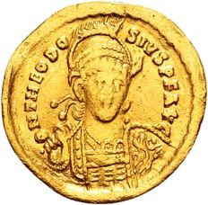 Roman Empire – Theodosius II 402-450, Gold Solidus struck in Constantinople 430-40