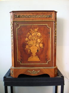 Unique walnut marquetry cabinet for a vase ornament and bronze fittings/ornaments - Belgium - 2nd half of 20th century