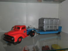 Gama, Western Germany - Length: 54 cm - Sheet metal Opel blitz trucks with trailers and containers with friction drive, 50s